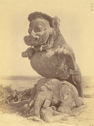 Statue of a lion rearing over an elephant, near the simhadvara, Surya Tempel or Black Pagoda, Konarka